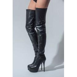 Arollo ANNA 2 kožené kozačky nad kolena černé