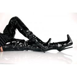 kozačky nad kolena černé lesklé
